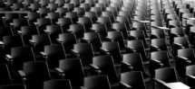 Rows of empty seats in an auditorium, concert venue, conference hall or theatre